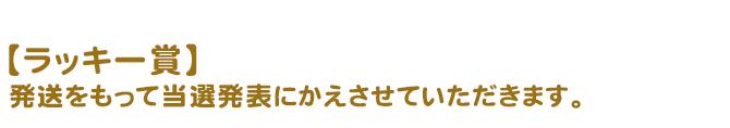 【ラッキー賞】発送をもって当選発表にかえさせていただきます。